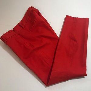 J. Crew Stretch Minnie Twill Red Pants Size 4